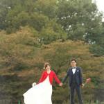 公園|前撮り|ロケーション撮影|ドレス|カラードレス|ウェディングドレス